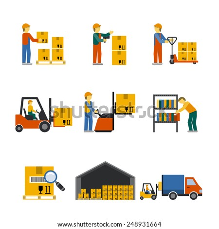 Warehouse icon flat set with forklift cart service manager isolated vector illustration - stock vector