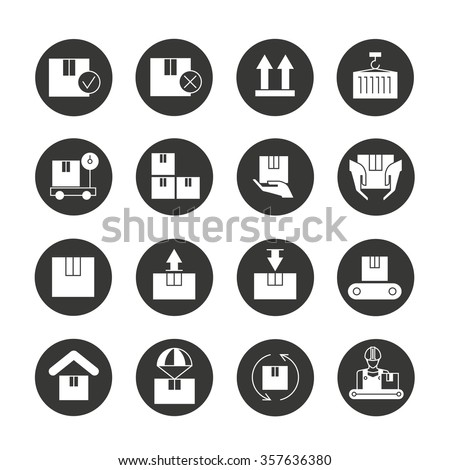 warehouse icons, cargo and shipping icons, box icons - stock vector