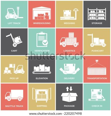 Warehouse icons flat set of storage cart verification isolated vector illustration - stock vector