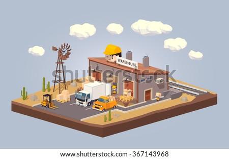 Warehouse in the desert - stock vector