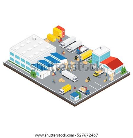 Warehouse industrial area isometric layout of warehouse building with parking and workplaces around vector illustration