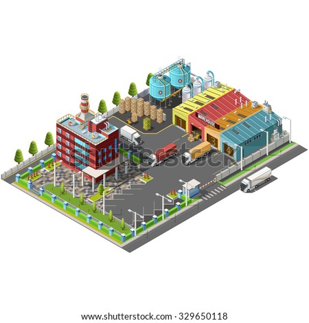 Warehouse Industrial area with seating for loading and unloading, shipping and delivery, transportation and office building. Isolated vector 3D isometric concept - stock vector
