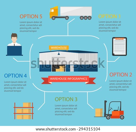 Warehouse infographics with transportation and delivery icons set isolated vector illustration - stock vector