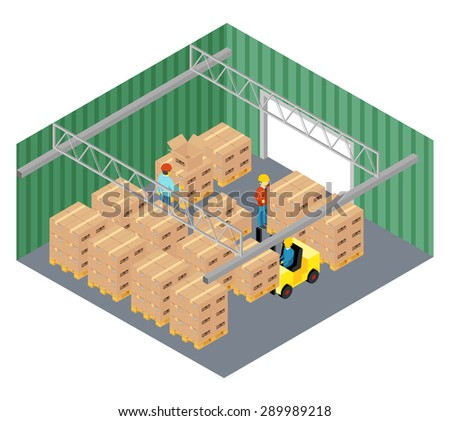 Warehouse interior. Industry and storage pallet, storekeeper and cargo business, parcel delivery, vector illustration - stock vector