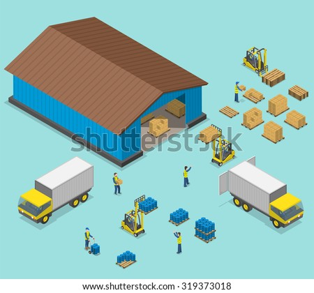 Warehouse isometric flat vector illustration. Process of loading and unloading of of trucks by workers near a warehouse. - stock vector