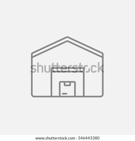 Warehouse line icon for web, mobile and infographics. Vector dark grey icon isolated on light grey background. - stock vector