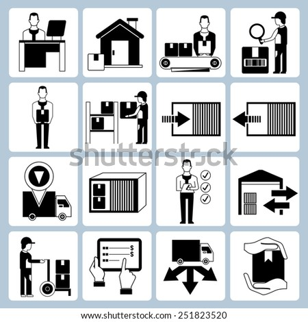 warehouse management icons set, cargo icons, inventory managent icons - stock vector