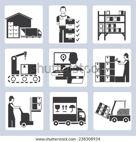 warehouse management icons set, warehouse operation icons - stock vector