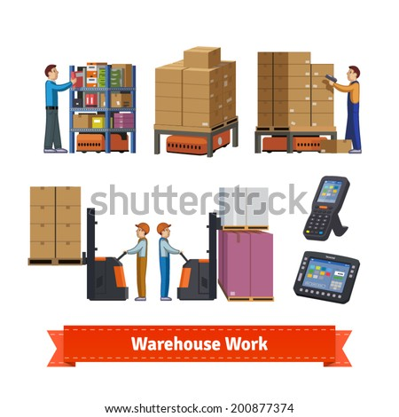 Warehouse operations, walkie forklifts, workers, robots. Flat icon illustration. EPS 10 vector. - stock vector