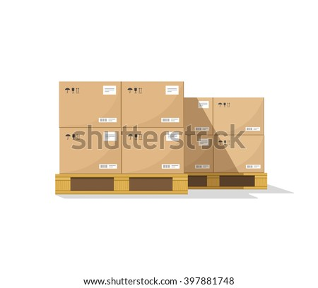 Warehouse parts boxes on wooden pallet vector illustration with shadow, cardboard cargo boxes, barcode, pictograms and abstract text stickers ready for loading, flat cartoon design isolated on white - stock vector