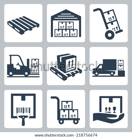 Warehouse related vector icons set - stock vector