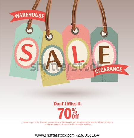 Warehouse Sale Clearance tag design - stock vector
