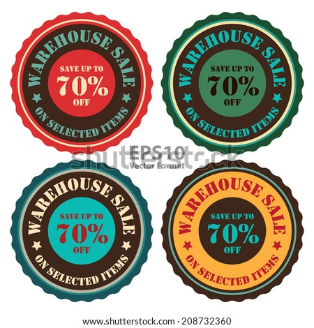 Warehouse Sale Save Up To 70 Percent Off On Selected Items on Vintage Badge, Icon, Button, Label Isolated on White, Vector Format - stock vector
