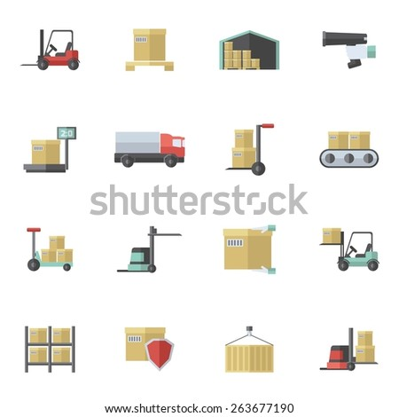 Warehouse shipping and logistics freight transportation icons flat set isolated vector illustration - stock vector