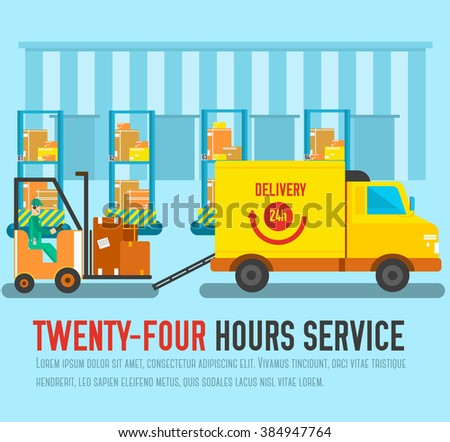 Warehouse staff loading on the car cargoes, box, package and parcels. Business delivery service vector illustration design concept. Flat quality logistics icons background - stock vector