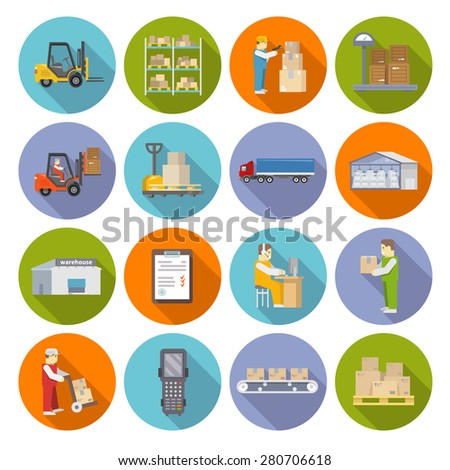 Warehouse stock and industrial storage icons flat set isolated vector illustration - stock vector