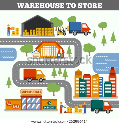 Warehouse to store transportation cargo delivery and logistic concept vector illustration - stock vector