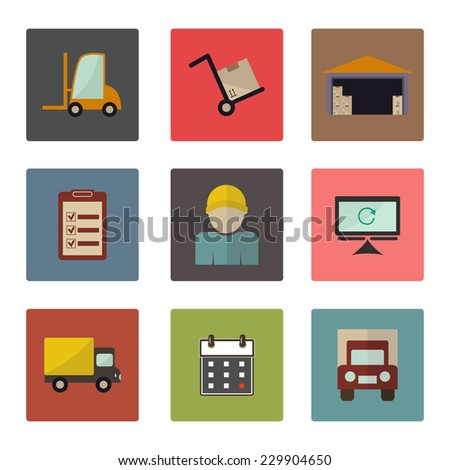 Warehouse transportation and delivery icons flat set. Vector illustration - stock vector