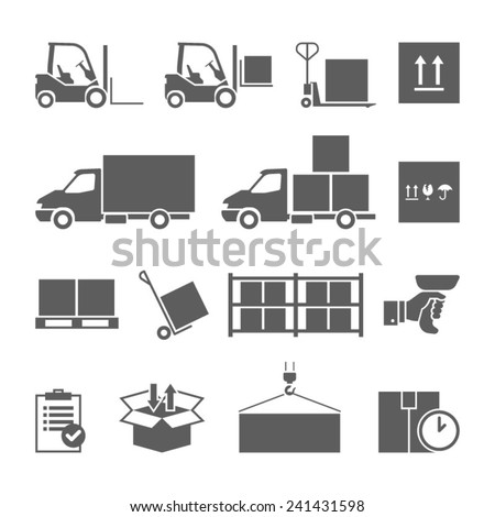 Warehouse transportation and delivery icons set isolated vector illustration