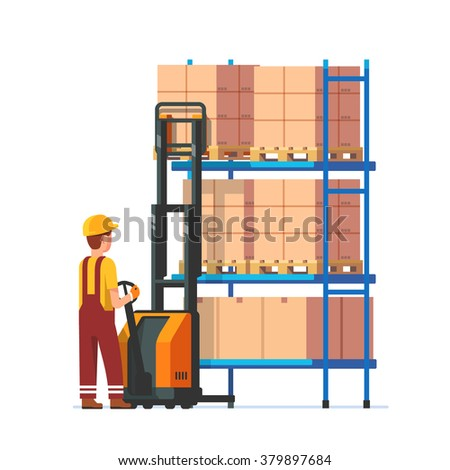 Warehouse worker operating electric fork lifter, loading stacked boxes on a metal rack. Modern flat style vector illustration isolated on white background. - stock vector