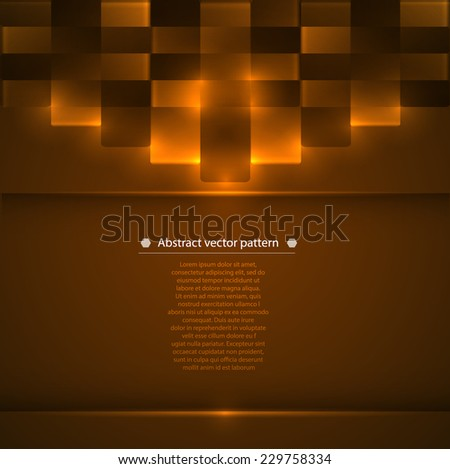 warm brown abstract geometric background with luminous accents. Vector illustration - stock vector