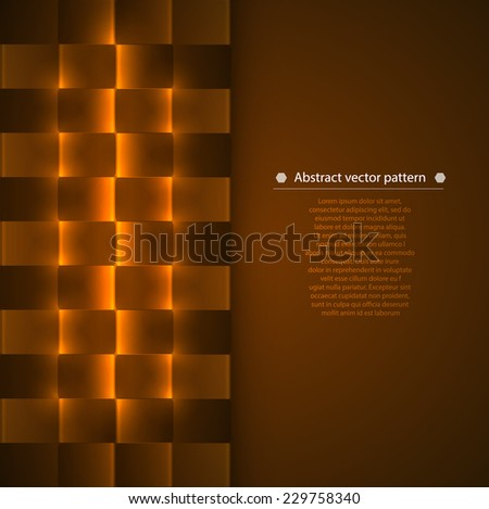 warm brown vertical vertical abstract geometric background with luminous accents. Vector illustration - stock vector