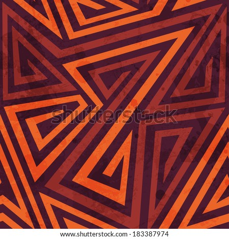 warm color tribal seamless pattern with grunge effect - stock vector
