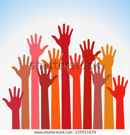 warm colorful up hands logo, vector illustration - stock vector