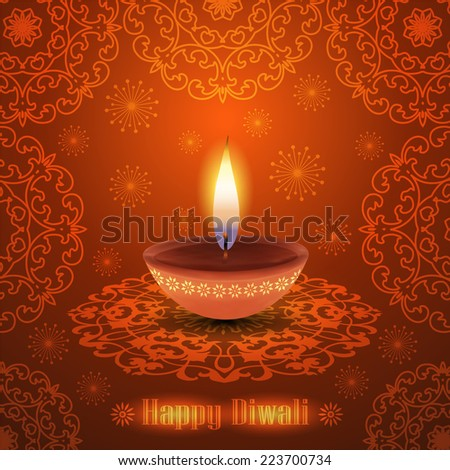 Warm Diwali Background with Glowing Traditional Oil Lamp - stock vector