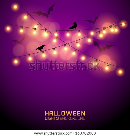 Warm Glowing halloween Lights. Vector illustration - stock vector
