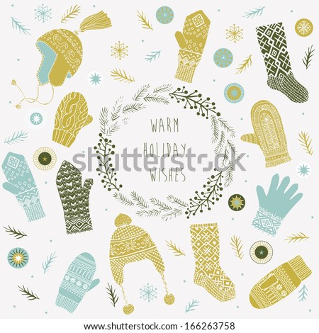 Warm Holiday Wishes - stock vector