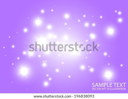 Warm space flares decorative template - Shiny purple  glittering design background  illustration