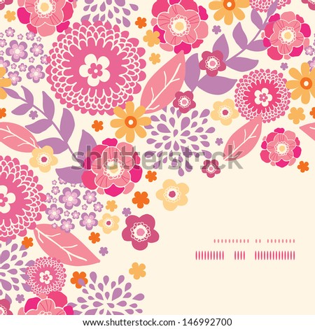 Warm summer plants corner frame pattern background