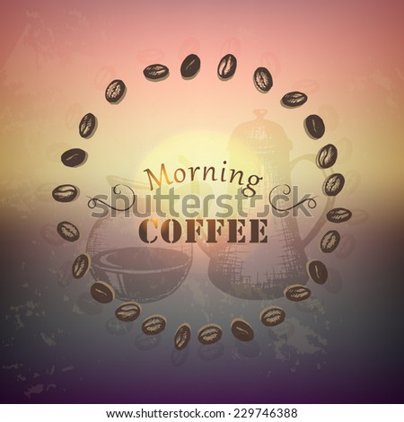 warm sunrise background with coffee beans and hand drawn coffee pots - stock vector