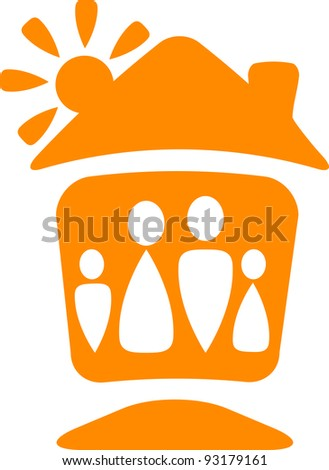 warm symbol with silhouette of happy family with house and sun - stock vector