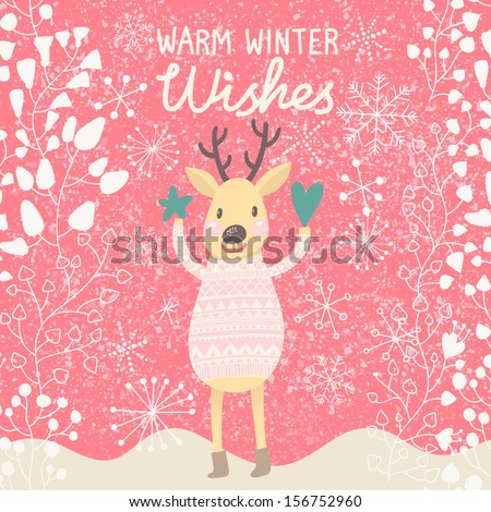 Warm winter wishes. Bright concept card with cute funny deer in vector. Cartoon childish background in pink colors - stock vector
