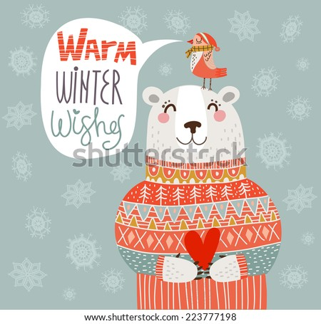 Warm winter wishes card in vector - stock vector