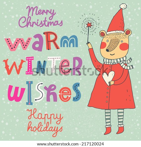 Warm winter wishes card in vector. Funny Merry Christmas background. Funny cartoon Bear in holiday concept wallpaper - stock vector