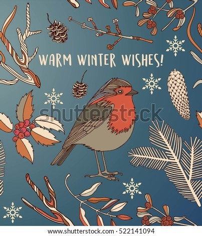 Warm winter wishes card with bird and branches. Vector Illustration.
