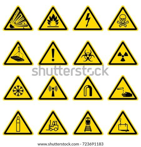 Warning Hazard Symbols On Yellow Triangles Stock Vector Hd Royalty