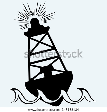 Warning buoy off the coast. Isolated on blue background. Vector silhouettes - stock vector