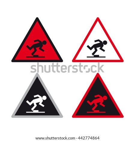 Warning caution traffic sign vector set