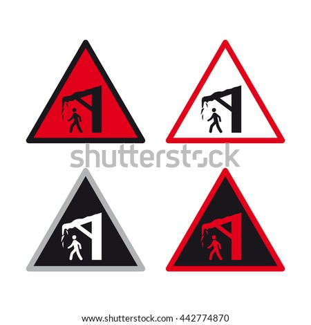 Warning caution traffic sign vector set snow ice building