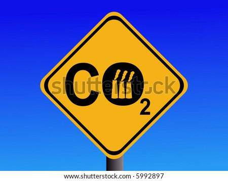 Warning CO2 emissions from industry sign illustration - stock vector