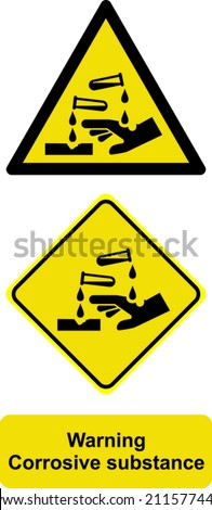 Warning corrosive substance - stock vector