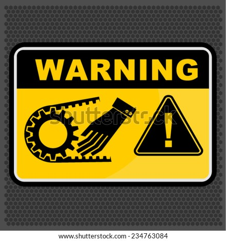 warning crushing hand , SIGN VECTOR - stock vector