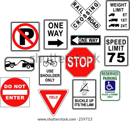 Warning / danger road signs in vector form (no park; one way; rail road; stop; weight limit; buckle up; no enter; yield...)