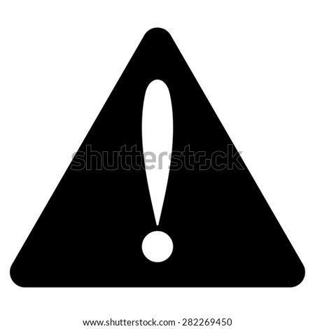 Warning error icon from Basic Plain Icon Set. Style: flat vector image, black color, rounded angles, white background. - stock vector