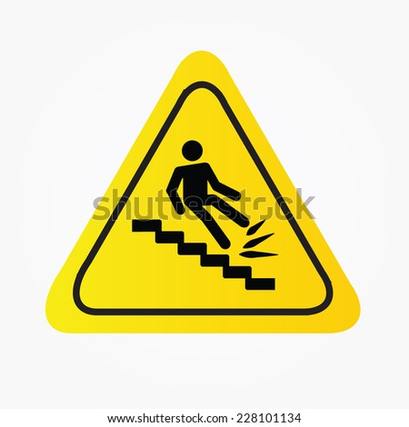 warning falling off the stairs sign,warning sign vector  - stock vector