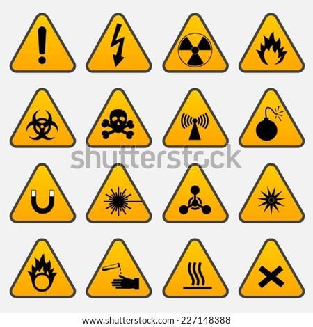 Warning Hazard Triangle Signs - stock vector
